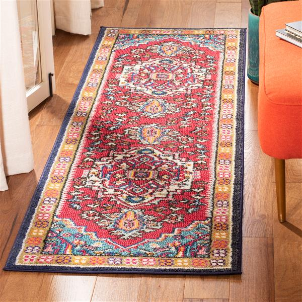 "Safavieh Monaco Decorative  Rug - 2' 2"" x 12' - Red/Turquoise"