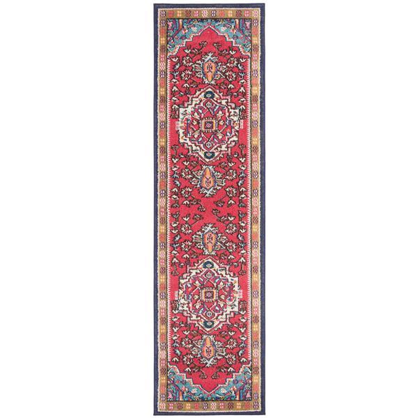 "Safavieh Monaco Decorative  Rug - 2' 2"" x 12' - Red/Turquoise"