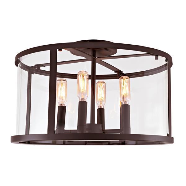 JVI Designs Bryant four light semi-flush ceiling light Bronze, 16.25-in