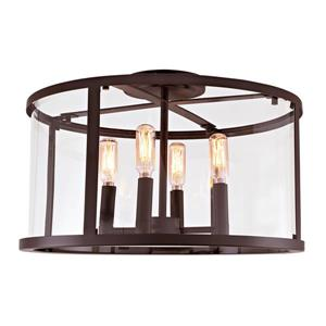 JVI Designs Bryant four light semi-flush ceiling light Bronze, 16.25-in