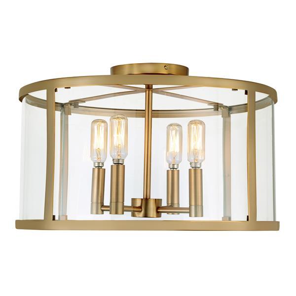 JVI Designs Bryant four light semi-flush ceiling light - Brass -16.25-in
