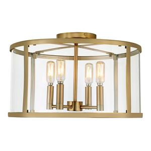 JVI Designs Bryant four light semi-flush ceiling light - Brass -16.25-in