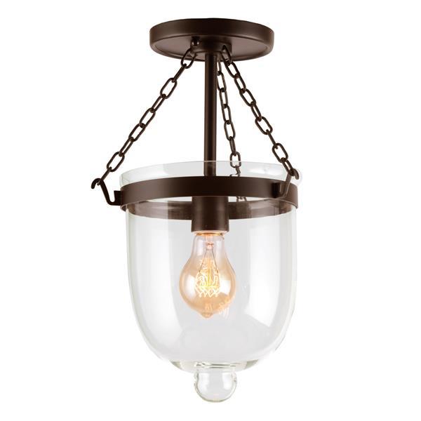 JVI Designs Small Semi-flush bell jar - Bronze - 14-in x 9-in