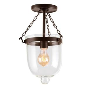 JVI Designs Small Semi-flush bell jar - Bronze - 14-in x 9-in