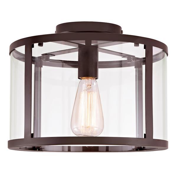 JVI Designs Bryant one light semi-flush ceiling light - Bronze- 11.75-in