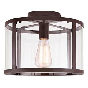 JVI Designs Bryant one light semi-flush ceiling light - Bronze- 11.75-in