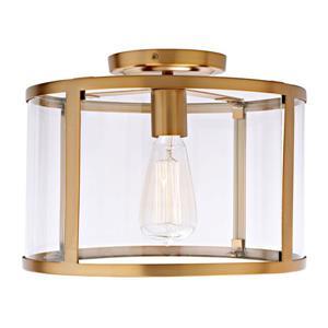 JVI Designs Bryant one light semi-flush ceiling light - Brass - 11.75-in