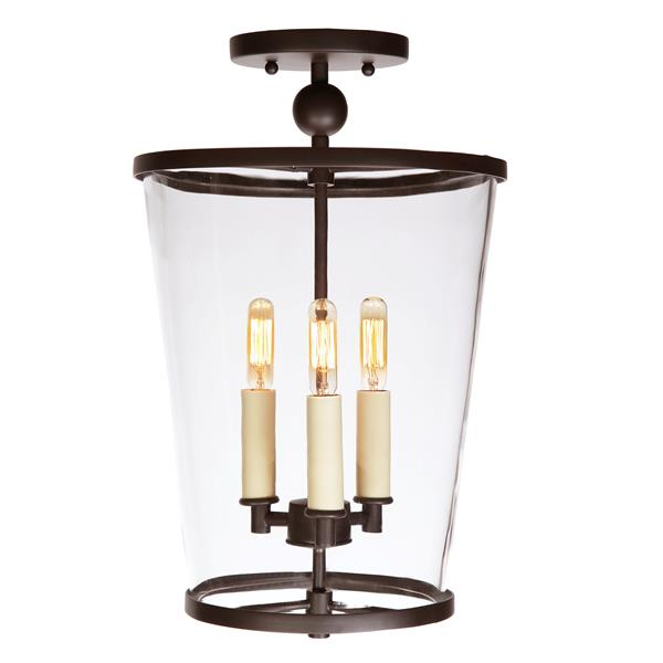 JVI Designs Charleston three light small semi flush - Bronze, 13.5-in x 7.5-in