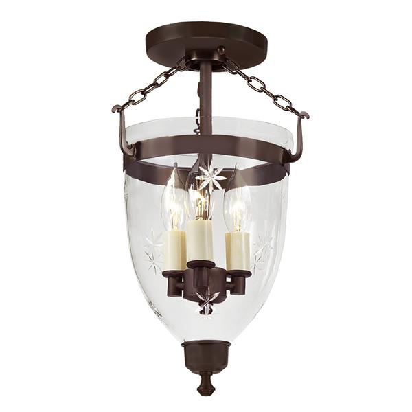 JVI Designs Three light Danbury bell lantern star glass - Bronze 14.5-in