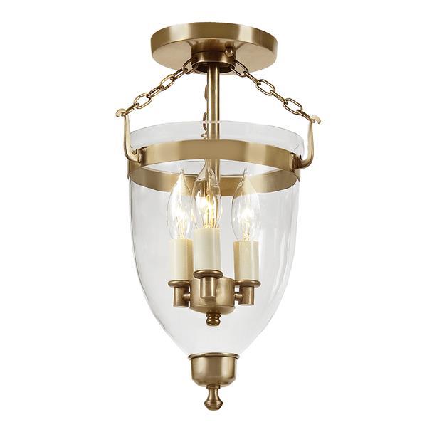 JVI Designs Three light danbury bell lantern clear glass - Brass -14.5-in