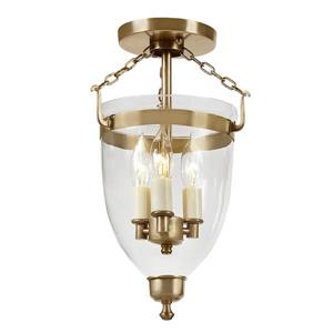 Three light danbury bell lantern clear glass - Brass -14.5