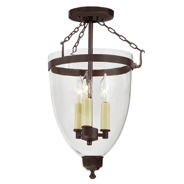 JVI Designs Three light Danbury bell lantern clear glass Bronze - 18-in