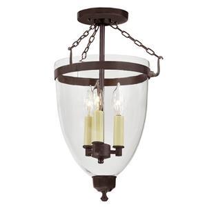 Three light Danbury bell lantern clear glass Bronze - 18