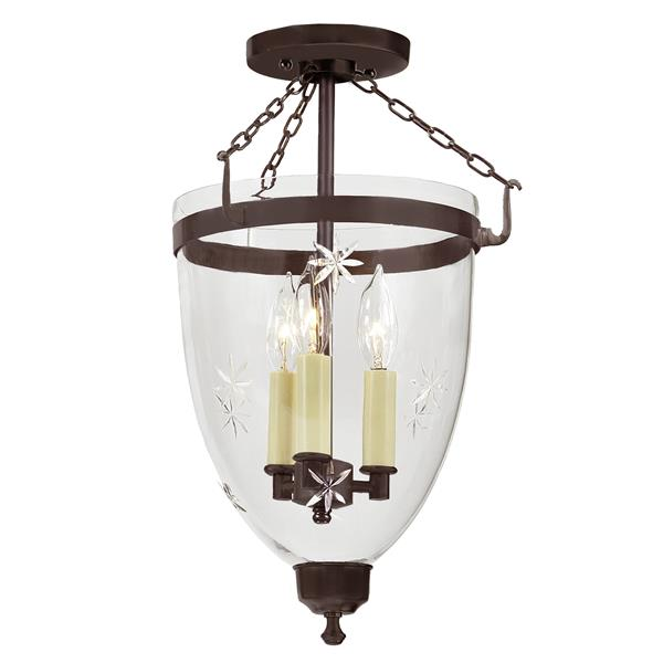 JVI Designs Three light Danbury bell lantern star glass - Bronze - 18-in