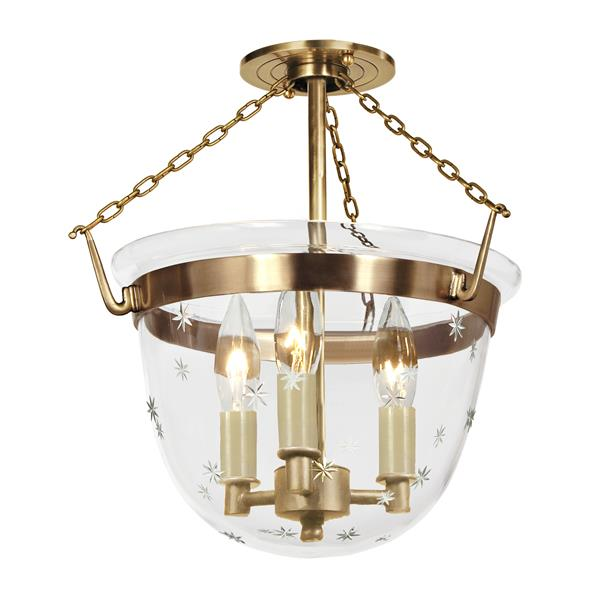 JVI Designs Small semi flush classic lantern star glass - Brass -14-in x 13-in