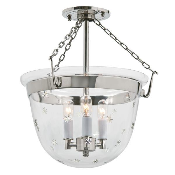 JVI Designs Small semi flush classic lantern star glass Nickel -14-in x 13-in