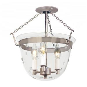 JVI Designs Semi flush classic lantern star glass Brushed Nickel 14-in x 13-in
