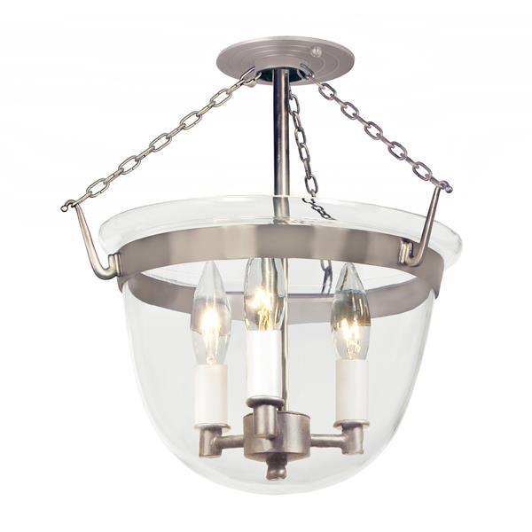 JVI Designs Semi flush classic bell lantern clear glass - Brushed Nickel