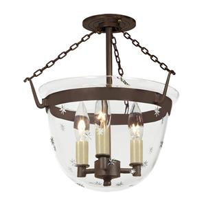 JVI Designs Small semi flush classic lantern star glass Bronze -14-in x 13-in