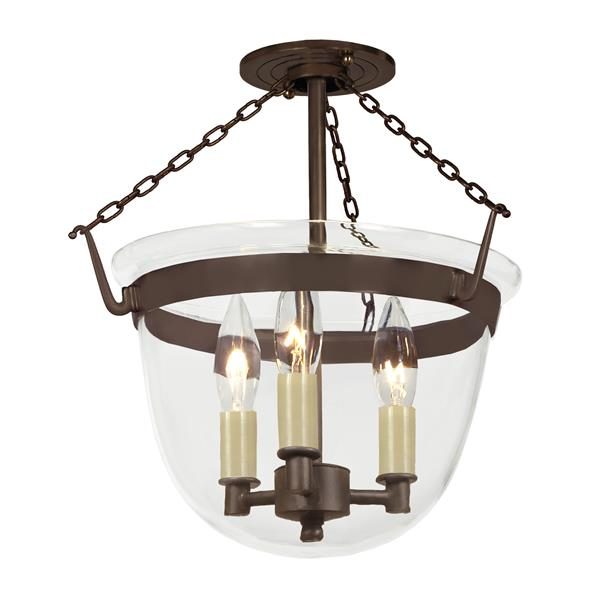 JVI Designs Small semi flush classic bell lantern -Clear glass - Bronze
