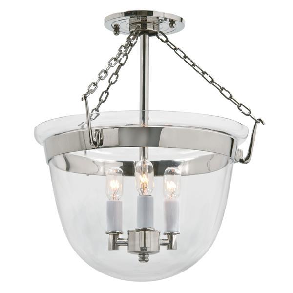 JVI Designs Small semi flush classic bell lantern -Clear glass - Nickel