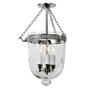 JVI Designs Medium semi flush bell jar lantern with star glass