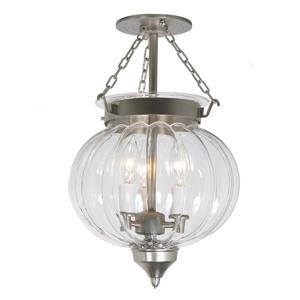 JVI Designs Medium semi flush melon jar lantern - Nickel - 15-in x 10-in