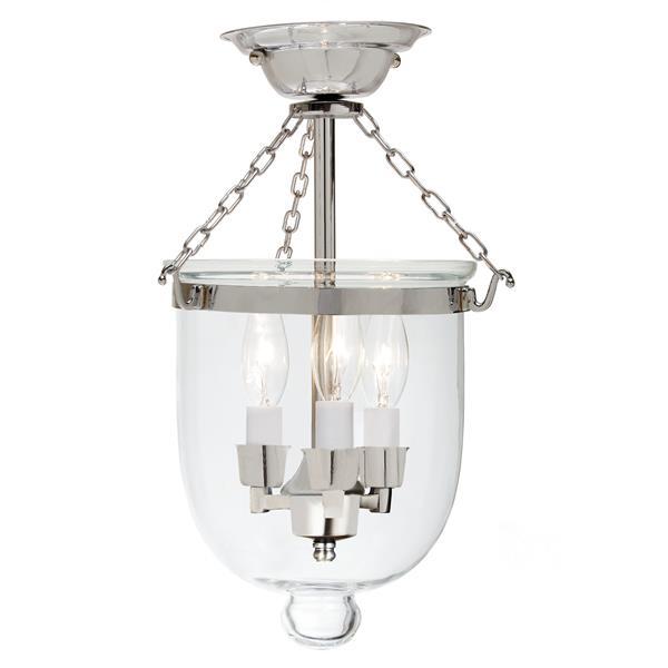 JVI Designs Medium semi flush bell lantern clear glass - Nickel - 14-in x 9-in