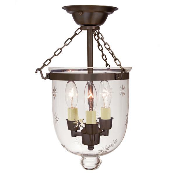 JVI Designs Semi flush bell jar lantern with - Clear glass/Bronze - 17-in