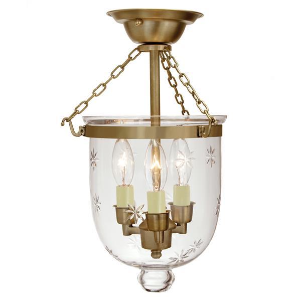 JVI Designs Small Semi flush bell lantern star glass - Brass - 14-in x 9-in