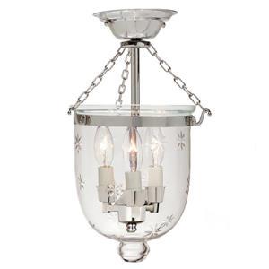 JVI Designs Small Semi flush bell lantern star glass - Nickel - 14-in x 9-in