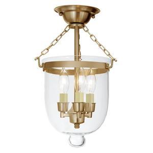 JVI Designs Semi flush bell jar lantern with clear glass/Brass - 14-in x 9-in