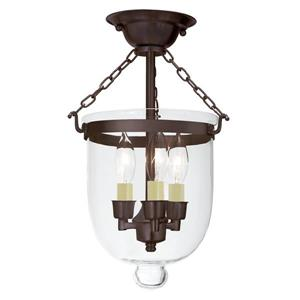 JVI Designs Semi flush bell jar lantern with -Clear glass/Bronze- 14-in x 9-in