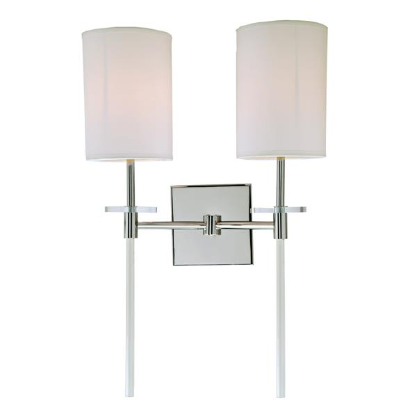 JVI Designs Sutton two light wall sconce - Polished Nickel - 20-in x 13.5-in