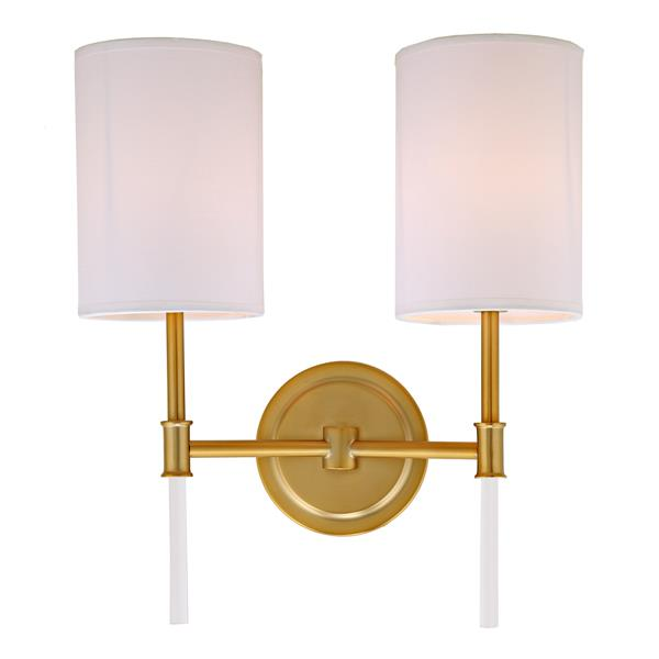 JVI Designs Hudson two light wall sconce - Brass - 14.75-in x 13.5-in