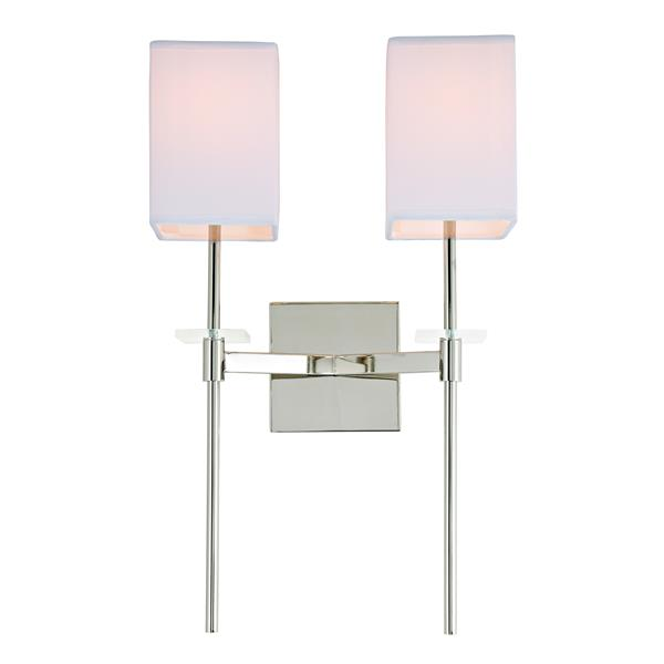 JVI Designs Marcus two light wall sconce - Polished Nickel - 20.5-in x 13-in