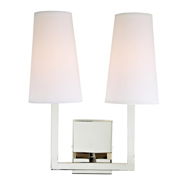 JVI Designs Sullivan two light wall sconce - Polished Nickel - 17-in