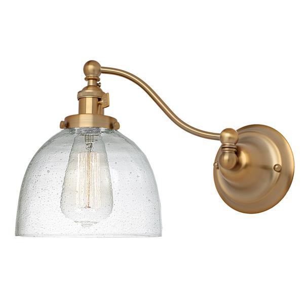 JVI Designs One light half swing clear bubble Madison wall sconce Brass