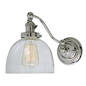 JVI Designs One light half swing clear bubble Madison wall sconce Chrome