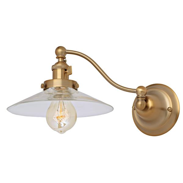 JVI Designs One light half swing Ashbury wall sconce- Brass - 7.5-in x 8-in
