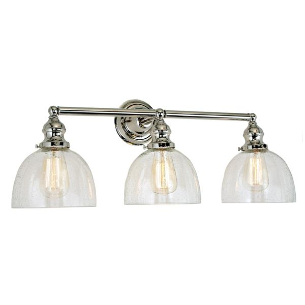JVI Designs 3-light clear bubble Madison bathroom- Polished Nickel- 27-in