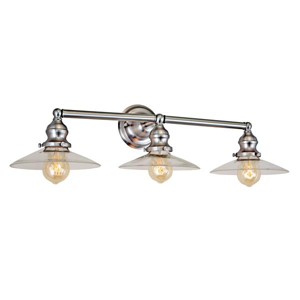 JVI Designs 3-light Ashbury bathroom wall sconce - Satin nickel - 28-in