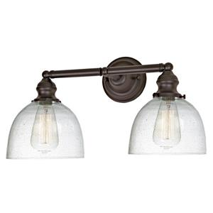JVI Designs 2-light clear bubble Madison bathroom - Bronze - 18.5-in