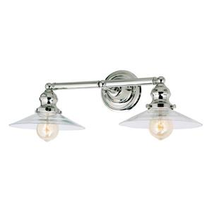 JVI Designs 2-light Ashbury bathroom wall sconce Polished Nickel - 19.5-in