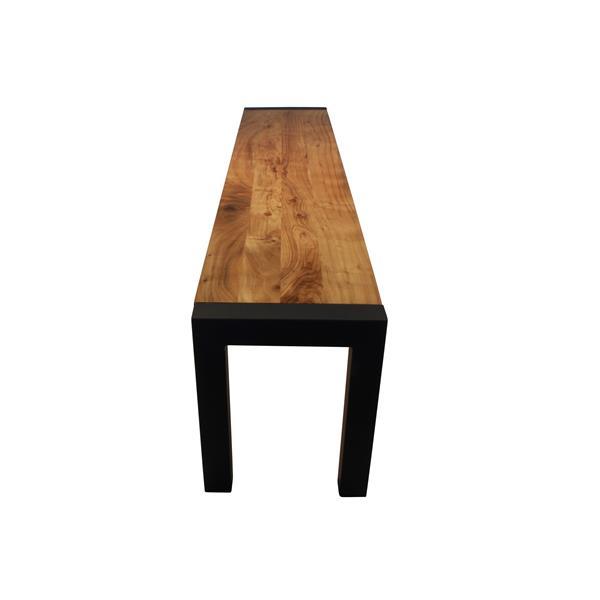 """Banc en bois d'Acacia avec piètement noir, 14""""x18""""x63"""""""