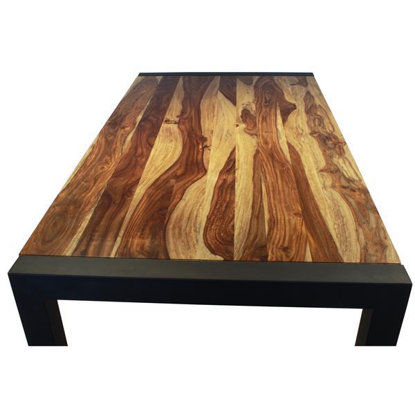 """Table en bois de Sheesham avec piètement noir, 70"""""""