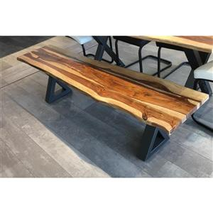 Sheesham Live Edge Bench with Black X-legs - 67
