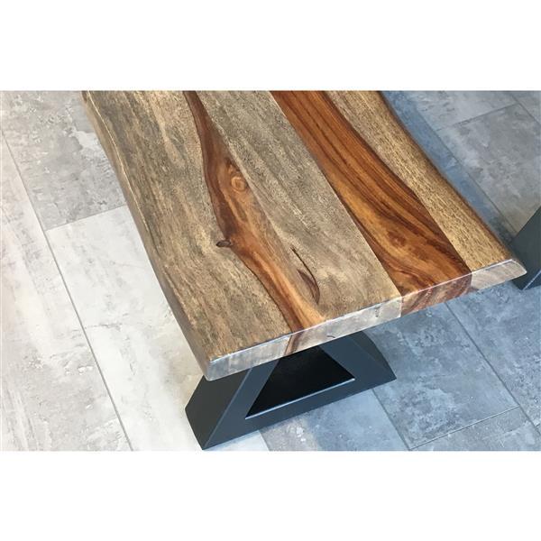 """Banc en bois de Sheesham gris avec piètement en X, 67"""""""