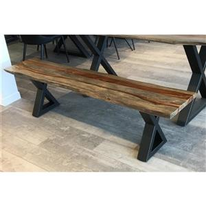 Corcoran Grey Sheesham Live Edge Bench with Black X-legs - 67""