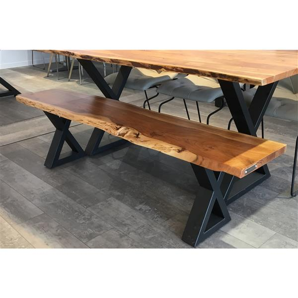 Corcoran Acacia Live Edge Bench with Black X-legs - 67""